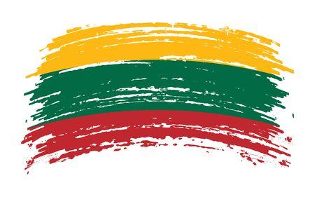 Lithuanian torn flag in grunge brush stroke, vector image