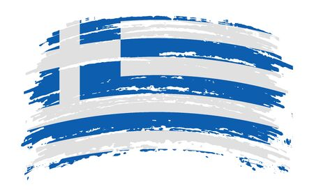 Greek torn flag in grunge brush stroke, vector image