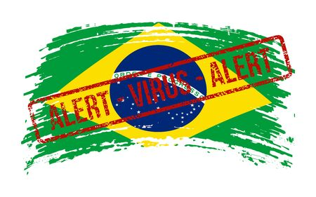 Brazilian torn flag with a stamp with the words alert virus, vector image Illustration