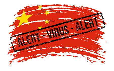 Chinese torn flag with a stamp with the words alert virus, vector image Иллюстрация
