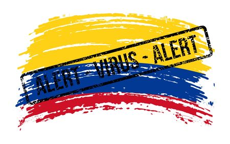 Colombian torn flag with a stamp with the words alert virus, vector image