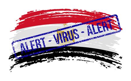 Egyptian torn flag with a stamp with the words alert virus, vector image Ilustração