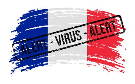 French torn flag with a stamp with the words alert virus, vector image