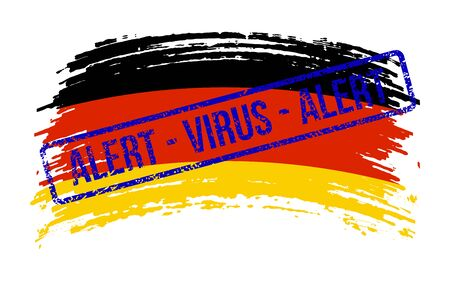 German torn flag with a stamp with the words alert virus, vector image