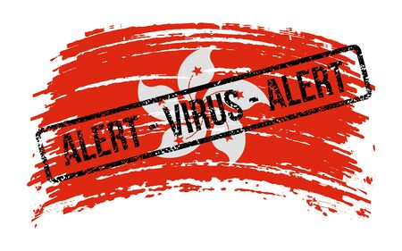 Hong Kong torn flag with a stamp with the words alert virus, vector image Иллюстрация