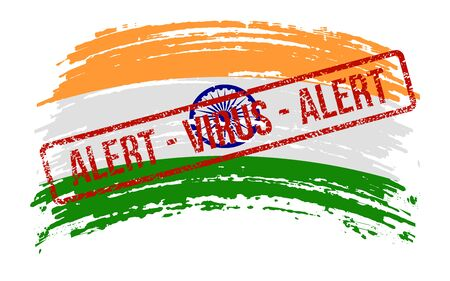 Indian torn flag with a stamp with the words alert virus, vector image Иллюстрация