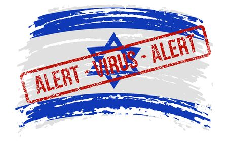 Israeli torn flag with a stamp with the words alert virus, vector image Иллюстрация