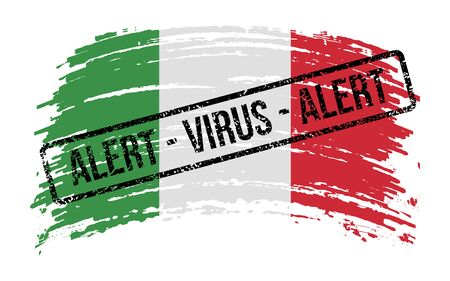 Italian torn flag with a stamp with the words alert virus, vector image