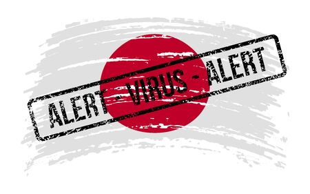 Japanese torn flag with a stamp with the words alert virus, vector image Иллюстрация