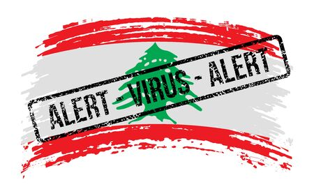 Lebanese torn flag with a stamp with the words alert virus, vector image