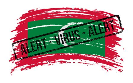 Maldives torn flag with a stamp with the words alert virus, vector image
