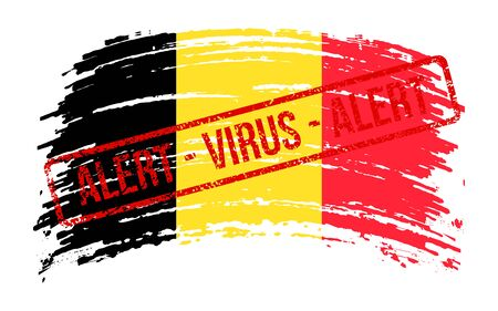 Belgian torn flag with a stamp with the words alert virus, vector image