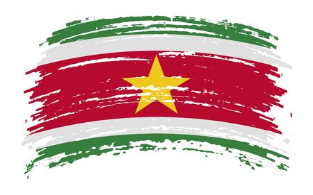Suriname torn flag in grunge brush stroke, vector image Иллюстрация