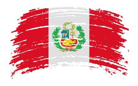 Peruvian torn flag in grunge brush stroke, vector image
