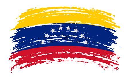Venezuelan torn flag in grunge brush stroke, vector image Иллюстрация