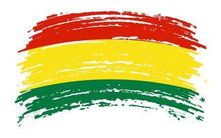 Bolivian torn flag in grunge brush stroke, vector image Иллюстрация