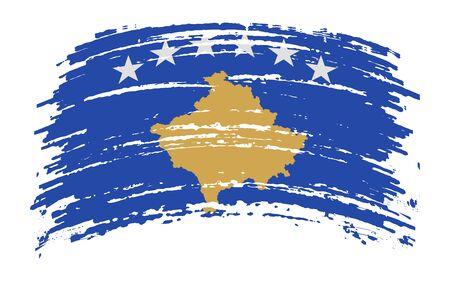Kosovo torn flag in grunge brush stroke, vector image