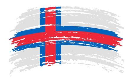 Faroe Islands torn flag in grunge brush stroke, vector image