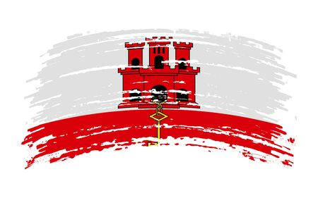 Gibraltaric torn flag in grunge brush stroke, vector image