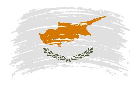Republic of Cyprus torn flag in grunge brush stroke, vector image