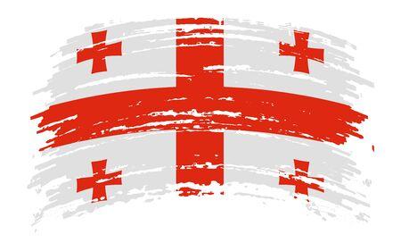 Georgian torn flag in grunge brush stroke, vector image