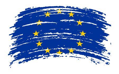 European Union torn flag in grunge brush stroke, vector image