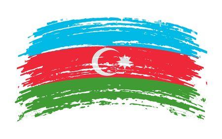 Azerbaijani torn flag in grunge brush stroke, vector image