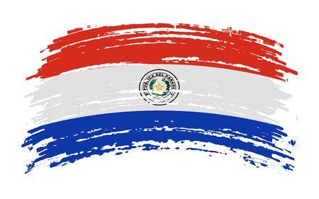 Paraguayan torn flag in grunge brush stroke, vector image Иллюстрация