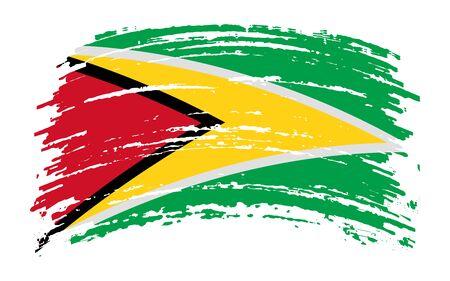 Guyana torn flag in grunge brush stroke, vector image Иллюстрация