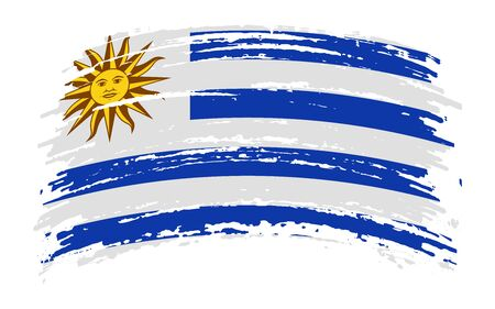 Uruguayan torn flag in grunge brush stroke, vector image