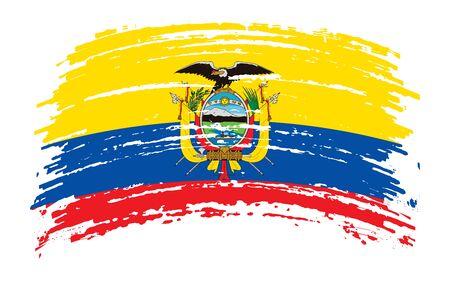 Ecuadorian torn flag in grunge brush stroke, vector image