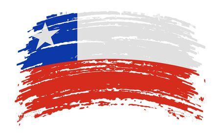 Chilean torn flag in grunge brush stroke, vector image Иллюстрация