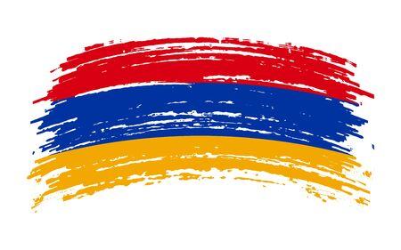 Armenian torn flag in grunge brush stroke, vector image Иллюстрация