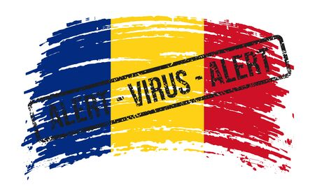 Romanian torn flag with a stamp with the words alert virus, vector image