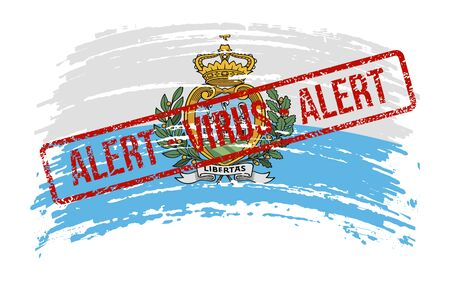 San Marino torn flag with a stamp with the words alert virus, vector image