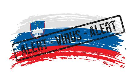 Slovenian torn flag with a stamp with the words alert virus, vector image