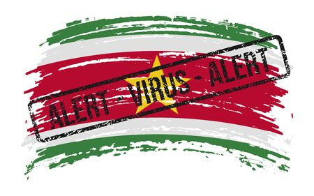 Suriname torn flag with a stamp with the words alert virus, vector image