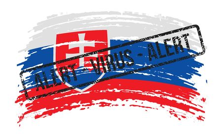 Slovak torn flag with a stamp with the words alert virus, vector image Иллюстрация