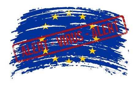 European Union torn flag with a stamp with the words alert virus, vector image