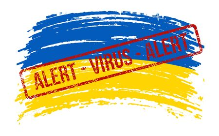 Ukrainian torn flag with a stamp with the words alert virus, vector image