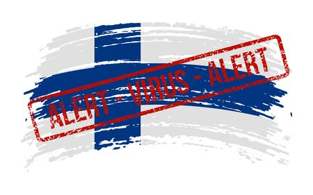 Finnish torn flag with a stamp with the words alert virus, vector image Иллюстрация