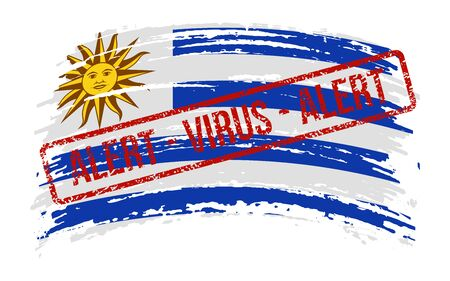 Uruguayan torn flag with a stamp with the words alert virus, vector image