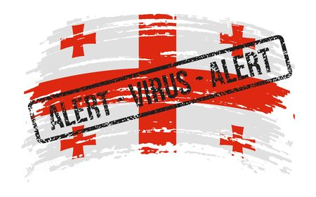 Georgian torn flag with a stamp with the words alert virus, vector image