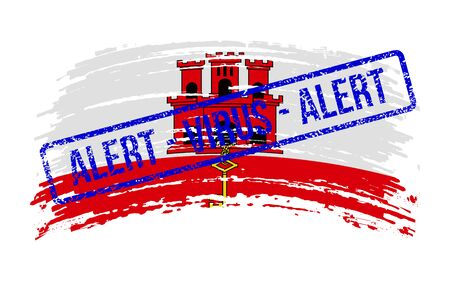 Gibraltaric torn flag with a stamp with the words alert virus, vector image