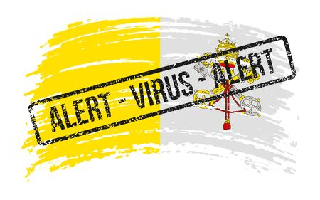 Vatican torn flag with a stamp with the words alert virus, vector image Иллюстрация