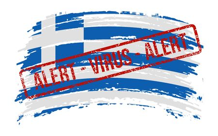 Greek torn flag with a stamp with the words alert virus, vector image