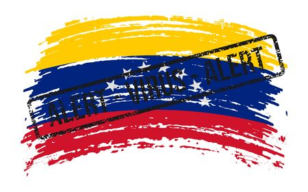 Venezuelan torn flag with a stamp with the words alert virus, vector image Иллюстрация