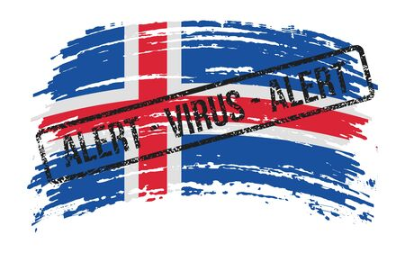 Icelandic torn flag with a stamp with the words alert virus, vector image