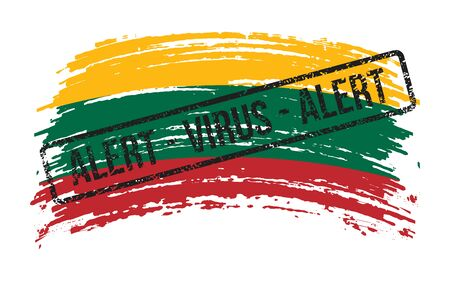Lithuanian torn flag with a stamp with the words alert virus, vector image Иллюстрация