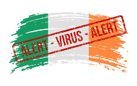 Irish torn flag with a stamp with the words alert virus, vector image